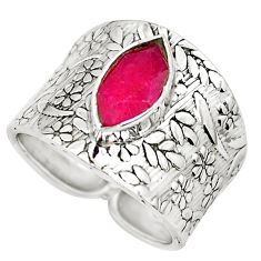 4.47cts natural red ruby 925 sterling silver solitaire ring size 8 p51070