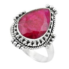 6.58cts natural red ruby 925 sterling silver solitaire ring size 7 p61641