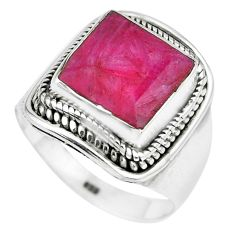 5.73cts natural red ruby 925 sterling silver solitaire ring size 7.5 p70332