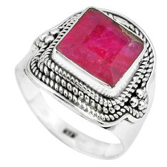 5.34cts natural red ruby 925 sterling silver solitaire ring size 8.5 p70336