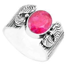 4.48cts natural red ruby 925 sterling silver solitaire ring size 9.5 p77161