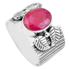 4.21cts natural red ruby 925 sterling silver solitaire ring size 7.5 p87862