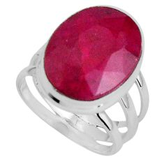 10.73cts natural red ruby 925 sterling silver solitaire ring size 6 p89583