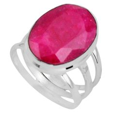 11.46cts natural red ruby 925 sterling silver solitaire ring size 6.5 p89587