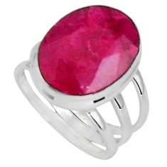 10.68cts natural red ruby 925 sterling silver solitaire ring size 6.5 p89596