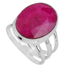 9.96cts natural red ruby 925 sterling silver solitaire ring size 6 p89598