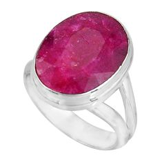 7.67cts natural red ruby 925 sterling silver solitaire ring size 6.5 p92576