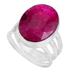 10.24cts natural red ruby 925 sterling silver solitaire ring size 6.5 p92579