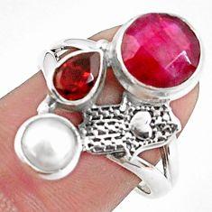 5.63cts natural red ruby garnet 925 silver hand of god hamsa ring size 8 p42806