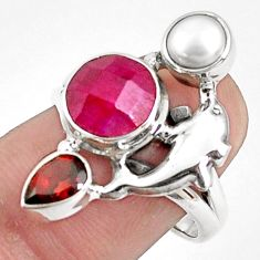 6.83cts natural red ruby garnet 925 sterling silver dolphin ring size 8 p42809