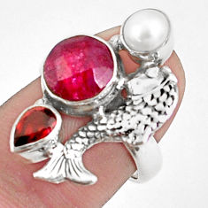 6.08cts natural red ruby garnet 925 sterling silver fish ring size 6.5 p42802
