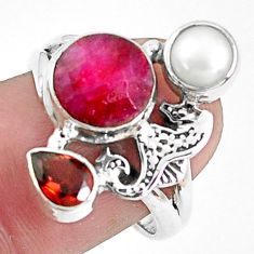 6.31cts natural red ruby garnet 925 sterling silver seahorse ring size 8 p42801