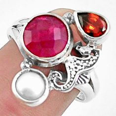 6.58cts natural red ruby garnet 925 sterling silver seahorse ring size 8 p42810