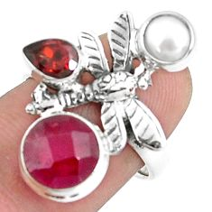 7.07cts natural red ruby garnet pearl 925 silver dragonfly ring size 7.5 p42814