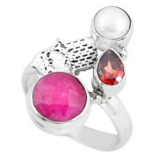 5.79cts natural red ruby garnet pearl 925 silver flower ring size 7 p61114