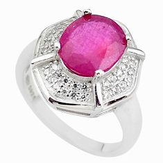 7.12cts natural red ruby oval white topaz 925 silver ring jewelry size 7 c2938