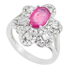 7.15cts natural red ruby oval white topaz 925 sterling silver ring size 6 c2045