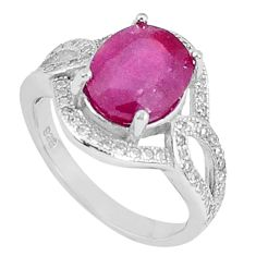 4.82cts natural red ruby topaz 925 silver solitaire ring jewelry size 6 a96347