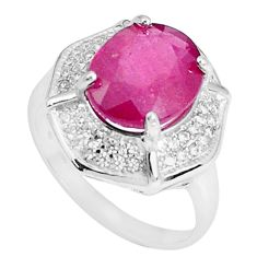 6.03cts natural red ruby topaz 925 silver solitaire ring jewelry size 8 a96350