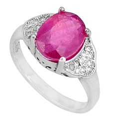 4.18cts natural red ruby topaz 925 silver solitaire ring jewelry size 6 a96360
