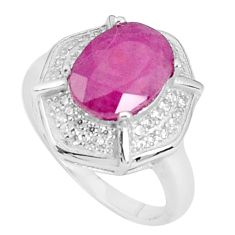 6.83cts natural red ruby topaz 925 silver solitaire ring jewelry size 7 a96362