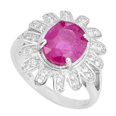 4.68cts natural red ruby topaz 925 silver solitaire ring jewelry size 6 a96368