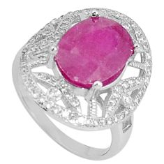 6.83cts natural red ruby topaz 925 silver solitaire ring jewelry size 7 a96409