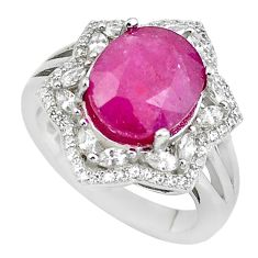 8.23cts natural red ruby topaz 925 silver solitaire ring jewelry size 7 c2911
