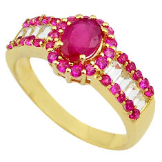 3.91cts natural red ruby topaz 925 sterling silver 14k gold ring size 9 c4299