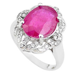 6.10cts natural red ruby topaz 925 sterling silver ring jewelry size 6.5 c2076