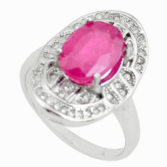 5.11cts natural red ruby topaz 925 sterling silver ring jewelry size 6 c2080