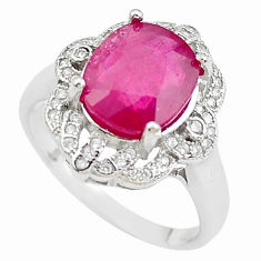 6.24cts natural red ruby topaz 925 sterling silver ring jewelry size 8.5 c2098