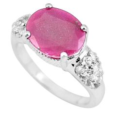 7.40cts natural red ruby topaz 925 sterling silver ring jewelry size 9 c3726