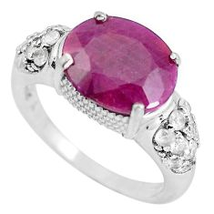 6.84cts natural red ruby topaz 925 sterling silver ring jewelry size 7.5 c3729