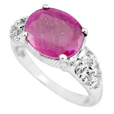 7.66cts natural red ruby topaz 925 sterling silver ring jewelry size 9 c3735