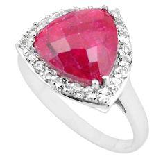7.04cts natural red ruby topaz 925 sterling silver ring jewelry size 10 c3751