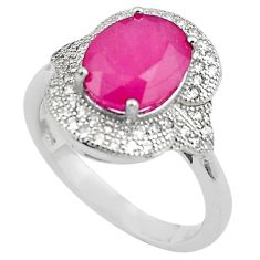 5.16cts natural red ruby topaz 925 sterling silver ring jewelry size 6.5 c4025
