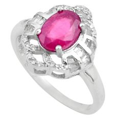 4.07cts natural red ruby topaz 925 sterling silver ring jewelry size 8.5 c4052