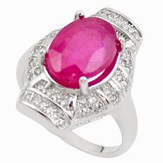 6.80cts natural red ruby white topaz 925 sterling silver ring size 7 c2106