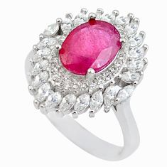 6.84cts natural red ruby white topaz 925 sterling silver ring size 8.5 c2936