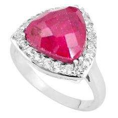 7.52cts natural red ruby white topaz 925 sterling silver ring size 9 c3750