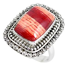 11.95cts natural red snakeskin jasper 925 silver solitaire ring size 8 d31313