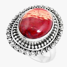 10.33cts natural red snakeskin jasper 925 silver solitaire ring size 7 d31350