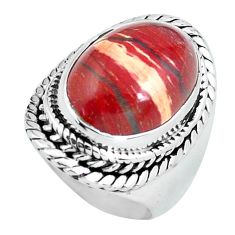 7.97cts natural red snakeskin jasper 925 silver solitaire ring size 6 d32082