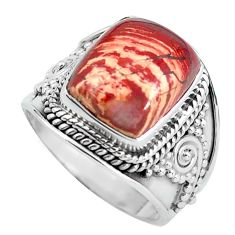 6.57cts natural red snakeskin jasper 925 silver solitaire ring size 7.5 d32088