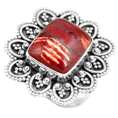 Clearance Sale- 7.23cts natural red snakeskin jasper 925 silver solitaire ring size 7 d32136