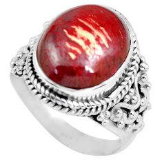 Clearance Sale- 7.66cts natural red snakeskin jasper 925 silver solitaire ring size 7 d32148