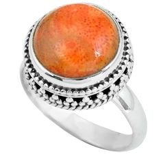 6.48cts natural red sponge coral 925 silver solitaire ring jewelry size 8 p67538