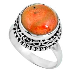 6.83cts natural red sponge coral 925 silver solitaire ring jewelry size 8 p67556