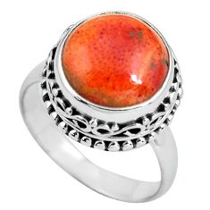 6.48cts natural red sponge coral 925 silver solitaire ring size 8.5 p67539
